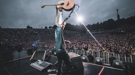 Ed Sheeran at Roundhay Park in Leeds. This picture appears on the front of the Ed Sheeran Daily Time