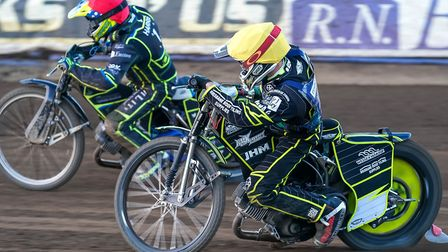 Chris Harris ahead of Josh Grajczonek the last time Poole were at Foxhall. Picture: Steve Waller