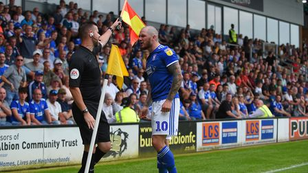 James Norwood has a disagreement with the linesman at Burton Albion. Picture Pagepix