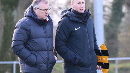 Plotting Stowmarket's success, manager Rick Andrews (left) and assistant Paul Musgrove. Photo: DAWN