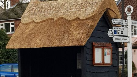 The bus stop in Bramfield, near Halesworth, with its new thatched roof. Picture: NICOLA CLARKE