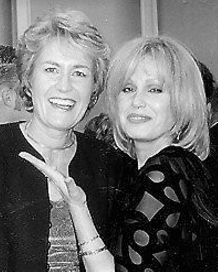 Carole Massey and Joanna Lumley pictured at the unveiling of Mrs Massey's artwork for The Born Free