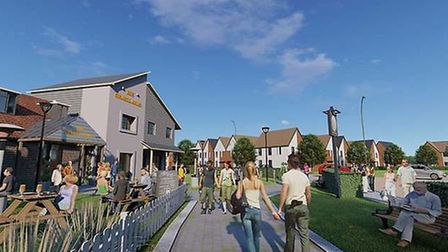 CGI indicative images of the early proposals for the Orwell Green Garden Village development - which