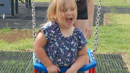 Sloane Fairbairn, who officially opened the new Douglas Park play area in Mildenhall Picture: WEST S