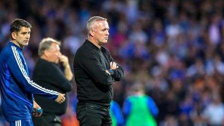 Town manager Paul Lambert watches on during the Ipswich Town v AFC Wimbledon game. Picture: STEVE