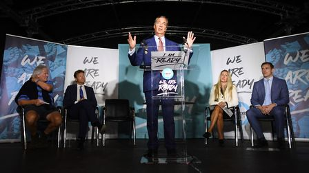 Brexit Party leader Nigel Farage speaks during the party's 'We Are Ready' event at Colchester United
