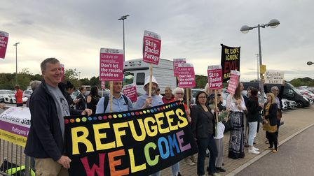 Protesters gathered outside Colchester United's ground as Nigel Farage prepared to take to the stage