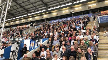 Hundreds of people took their seats at the Jobserve Community Stadium ahead of Richard Tice and Nige