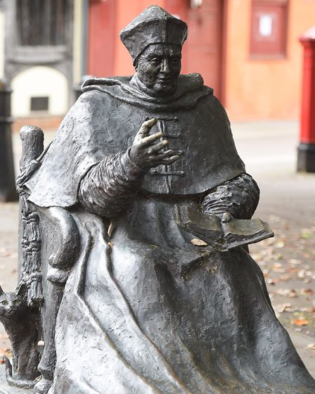 Cardinal Thomas Wolsey statue in St Nicholas Street. Picture: GREGG BROWN