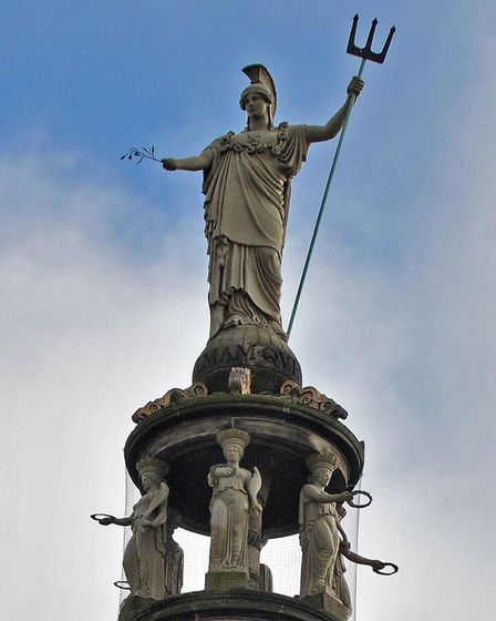 Britannia on top of the Nelson Monument, Great Yarmouth. Photo: Andy Darnell