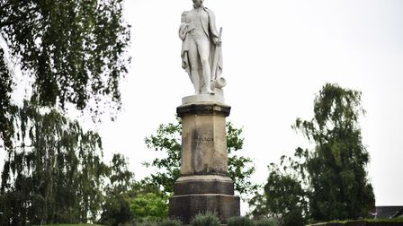 The Lord Nelson statue by Thomas Milnes in Upper Close at Norwich Cathedral. Picture : ANTONY KELLY