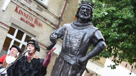 The official unveiling of the life-size bronze statue of King John in King's Lynn town centre. Perfo