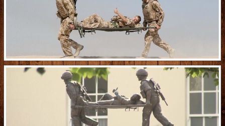 The stretcher bearer statue outside Chavasse VC House Help for Heroes Recovery Centre in Colchester