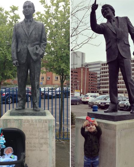 Lee Richardson's son Alfie as a baby with the Sir Alf Ramsey statue, and a few years later with the