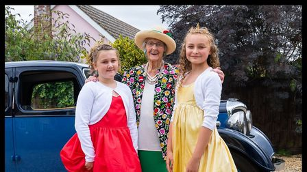 Nominated for a statue - Manette Baillie who was crowned Miss Benhall at 97, with attendants Trulie