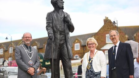The official unveiling of the Henry Styleman le Strange statue in Hunstanton. Pictured are (from lef