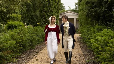 Sophia Capasso as Elizabeth Bennet and George Banks as Mr Darcy in Bury St Edmunds Theatre Royal's 2