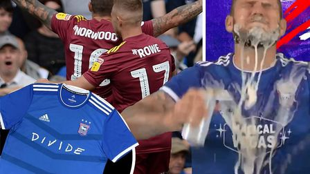 James Norwood celebrates his first Ipswich Town goal at London Road (main) and online (right). Inset