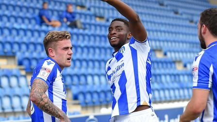 Kane Vincent-Young celebrates scoring hsi first senior goal, for Colchester United, in a 5-1 win ove