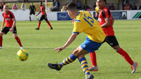 Harry Critchley in action for AFC Sudbury agianst Coggeshall. Picture: STEVEN SCREECH