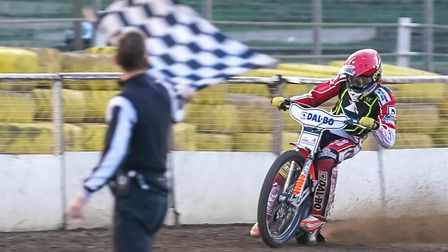 New signing Niels-Kristian Iversen takes the chequered flag to win his first-ever Witches race last