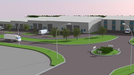 A computer generated image of the south eastern view of Atex Business Park in Stowmarket Picture: ME