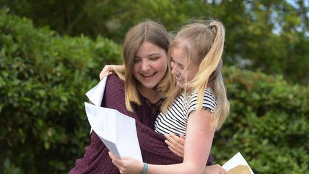 Anna Lewis and Nancy Canton celebrate their results Picture: SARAH LUCY BROWN
