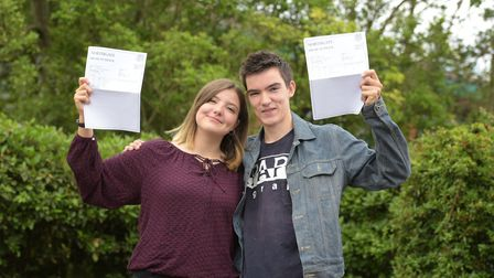 Brother and sister Anna and Owen Lewis were both pleased with their results Picture: SARAH LUCY BROW