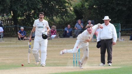 Ollie Bocking, who took three for 30 off his 10 overs in Frinton's win over Horsford. Picture: NICK
