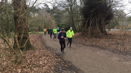 Runners near the finish of the Clumber Park parkrun. There were 358 finishers when Carl Marston took