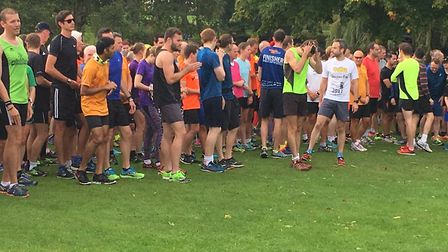 The field congregates before the start of the 240th Cheltenham parkrun, in Pittville Park. Picture: