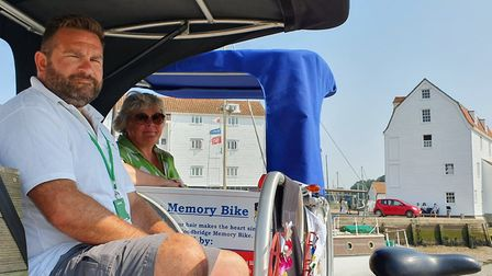 Clare Perkins and Ian lightfoot are hoping to raise funds for the Woodbridge Memory Bike. Picture: G