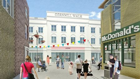 A visual by PWP Architects showing the front of the redeveloped Cornhill Walk Shopping Centre in Bur