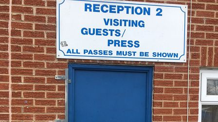 The media entrance at Bury FC's Gigg Lane. Picture: CARL MARSTON