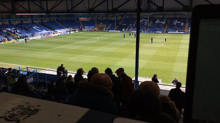 The view from the back of the main stand at Gigg Lane, taken during Carl Marston's last visit, which