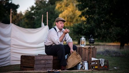 Basil Brown (Ivan Wilkinson) investigating the strange mounds at Sutton Hoo in Stuff of Dreams new p