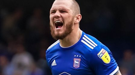 Ipswich Town's James Norwood screams with delight following the 3-0 victory over Shrewsbury Town.