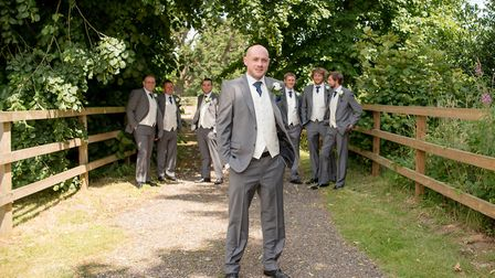 Craig Sawyer (front) pictured on his wedding day in 2016 with four of the Tour de Trigger cyclists t