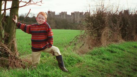 An eight-year-old Ed Sheeran at Framlingham Castle in a family snap by his father John. Picture: JOH