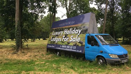 Advertising for holiday chalets at Fornham Park Picture: ANDREW HIRST
