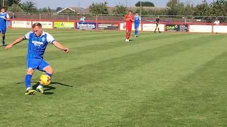 Leiston right-back, Kyle Hammond, prepares to launch the ball forward during this afternoon's Southe
