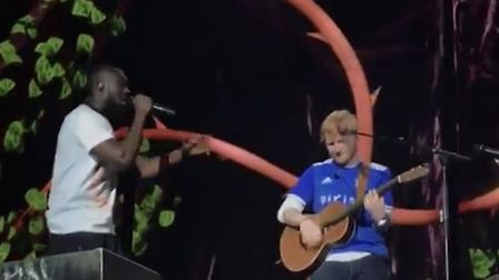 Stormzy joins Ed Sheeran on stage at Chantry Park, Ed with his Ipswich Town shirt on... naturally P