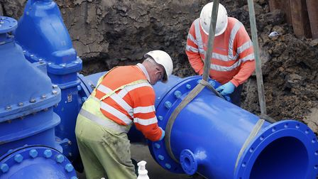 Water engineers at work Picture: Anglian Water