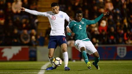 Andre Dozzell in action for England U21s, against Germany, at Colchester last year. Photo: Pagepix