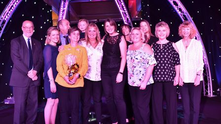 The overall Star of Suffolk award is presented to Barking Pre School by Peter Hawes Picture: SONYA D