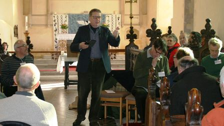 Bill Turnbull chairing a previous public meeting at Theberton Church. Picture: PAUL GEATER