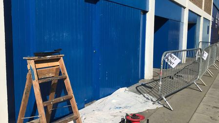 New paint for the Cobbold stand turnstiles Picture: ROSS HALLS