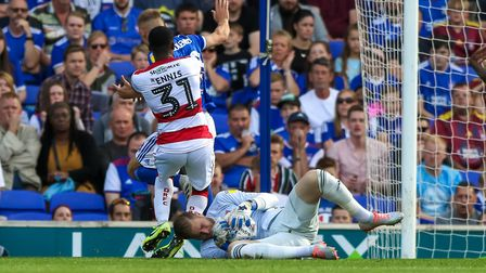 Tomas Holy braces himself as he makes a second half save. Picture: Steve Waller www.stephenwal
