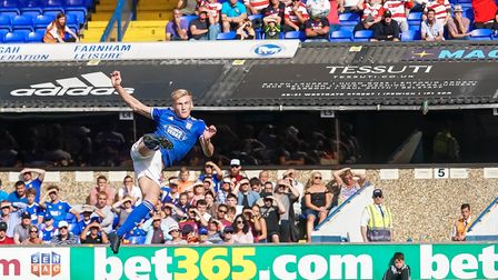 Flynn Downes with a first half volley. Picture: Steve Waller www.stephenwaller.com