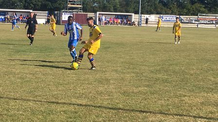 AFC Sudbury's Ben Hunter on the ball at Hullbridge Sports, during the Suffolk club's 2-0 defeat at L